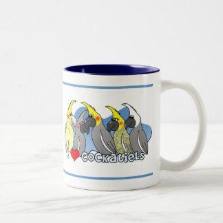 Taza del Cockatiel de las mutaciones del color