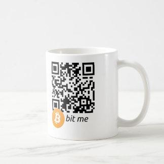 Taza del código de la cartera QR de Bitcoin