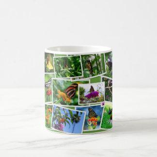 Taza del collage de la mariposa