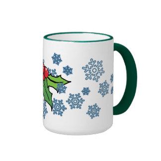 Taza del copo de nieve del muérdago