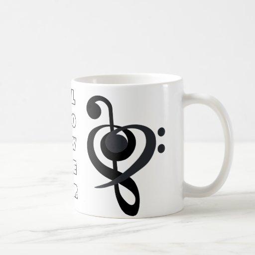 Taza del corazón del Clef del amante de la música