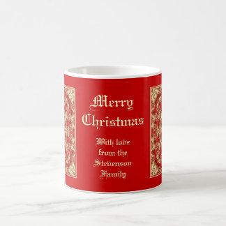 Taza del cordón del navidad con el mensaje persona