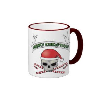 Taza del cráneo de Santa y de café del navidad de