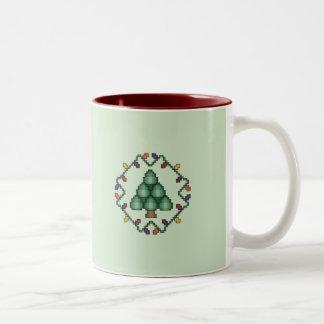 Taza del cuadrado del edredón del árbol de navidad