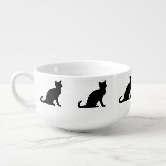 Taza del cuenco de sopa del gato negro el | con el cuenco para sopa