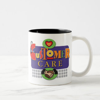 """""""Taza del cuidado del cliente"""" Taza De Dos Tonos"""