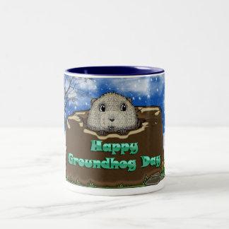 Taza del día de la marmota, con Groundhog lindo mi