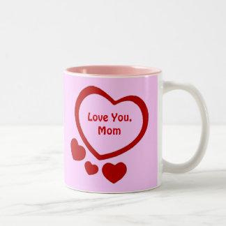 Taza del día de madre de los corazones