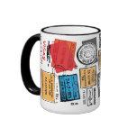 Taza del diseño del viaje de los sellos del pasapo
