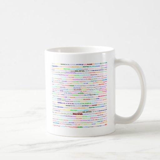 Taza del diseño II del texto de Olivia
