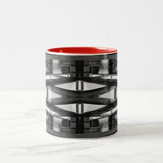 Taza del Dos-Tono, 11oz; Diseño abstracto