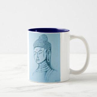 Taza del Dos-tono azul de Buda/de Namaste