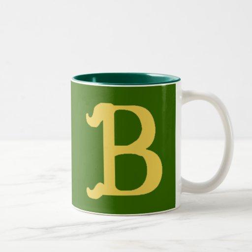Taza del Dos-Tono con monograma con la letra B