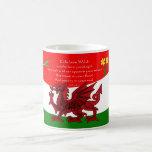 Taza del dragón Galés con el poema de Brian Harris