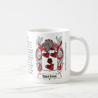 Taza del escudo de armas de la familia de Barton