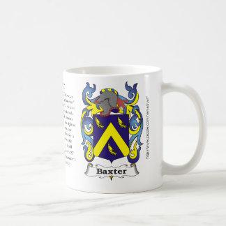 Taza del escudo de armas de la familia de Baxter