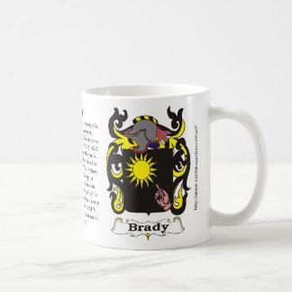 Taza del escudo de armas de la familia de Brady