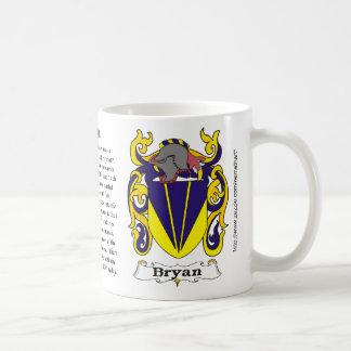 Taza del escudo de armas de la familia de Bryan