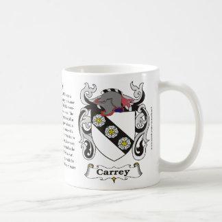 Taza del escudo de armas de la familia de Carey