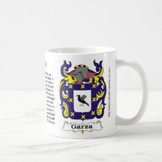 Taza del escudo de armas de la familia de Garza