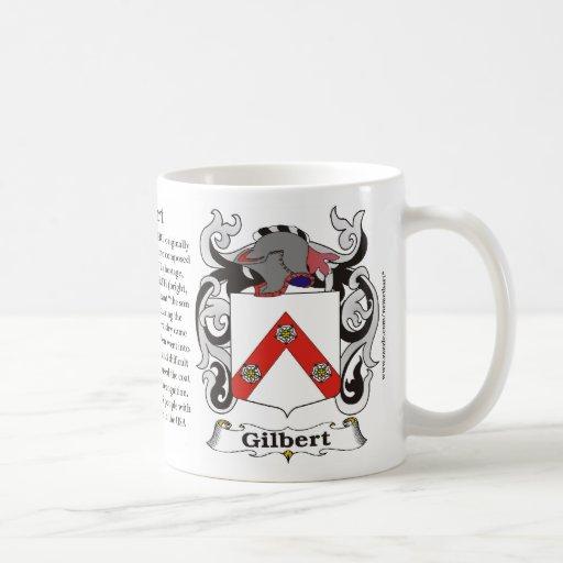 Taza del escudo de armas de la familia de Gilbert