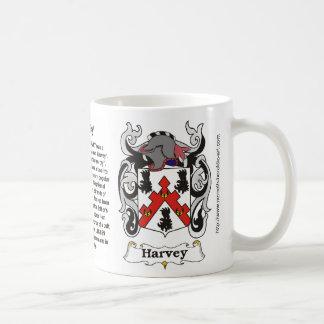 Taza del escudo de armas de la familia de Harvey