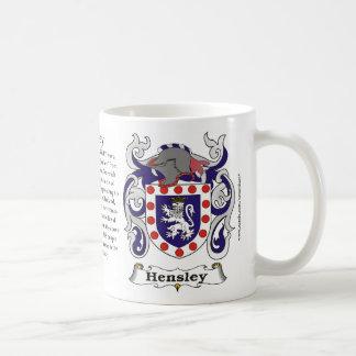 Taza del escudo de armas de la familia de Hensley
