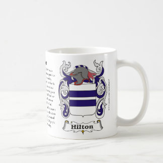 Taza del escudo de armas de la familia de Hilton