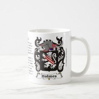 Taza del escudo de armas de la familia de Holmes