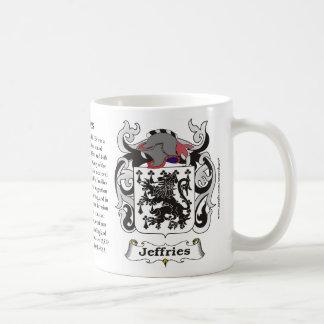 Taza del escudo de armas de la familia de Jeffries