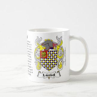 Taza del escudo de armas de la familia de Lund