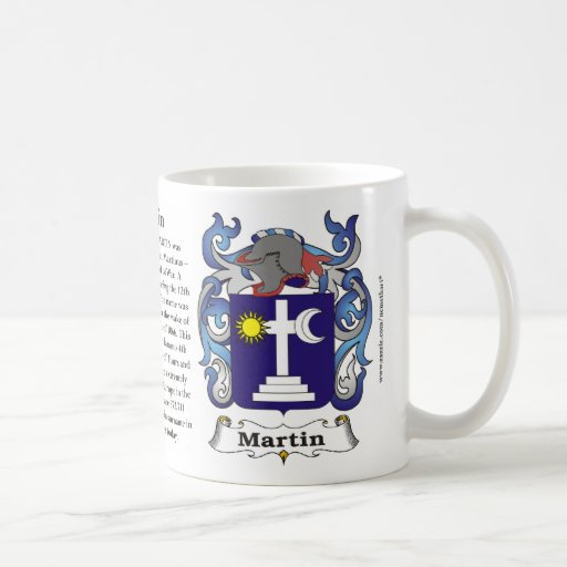 Taza del escudo de armas de la familia de Martin