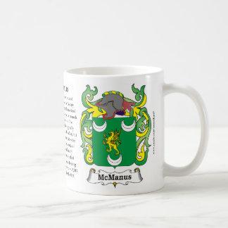 Taza del escudo de armas de la familia de McManus