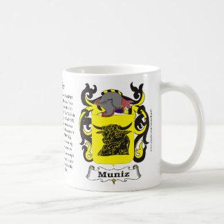 Taza del escudo de armas de la familia de Muniz