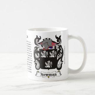 Taza del escudo de armas de la familia de Newman
