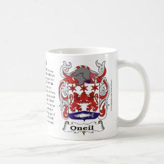 Taza del escudo de armas de la familia de Oneil