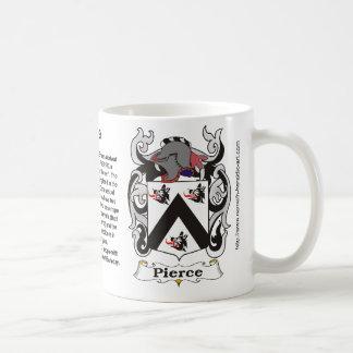 Taza del escudo de armas de la familia de Pierce
