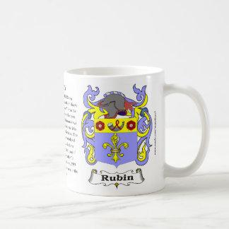 Taza del escudo de armas de la familia de Rubin