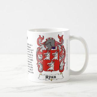 Taza del escudo de armas de la familia de Ryan