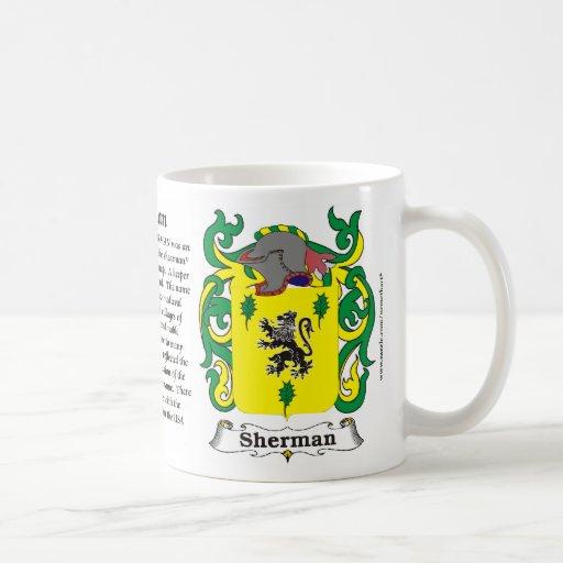 Taza del escudo de armas de la familia de Sherman