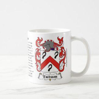 Taza del escudo de armas de la familia de Tatum
