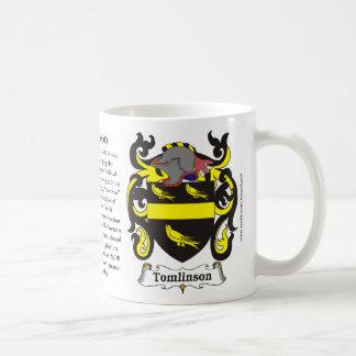 Taza del escudo de armas de la familia de Tomlinso