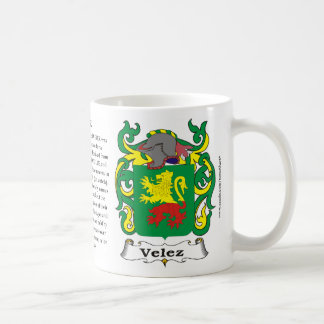 Taza del escudo de armas de la familia de Velez