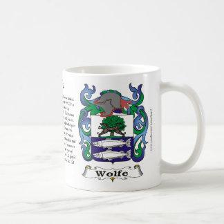 Taza del escudo de armas de la familia de Wolfe