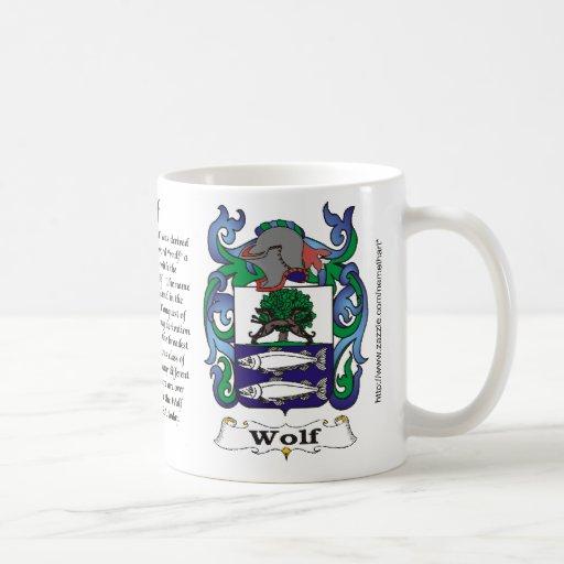 Taza del escudo de armas de la familia del lobo