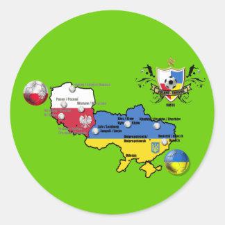 Taza del europeo del fútbol del mapa de la bandera pegatina redonda