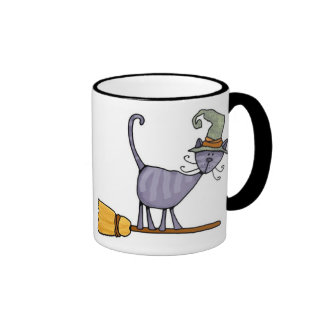 taza del gatito del palo de escoba