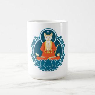 Taza del gato de Buda (15oz. blanco)