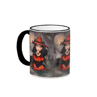 Taza del gato de la bruja de Halloween por Molly H
