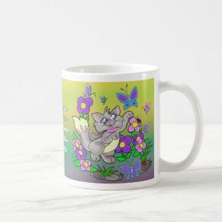 """""""Taza del gato del cazador de la mariposa"""""""